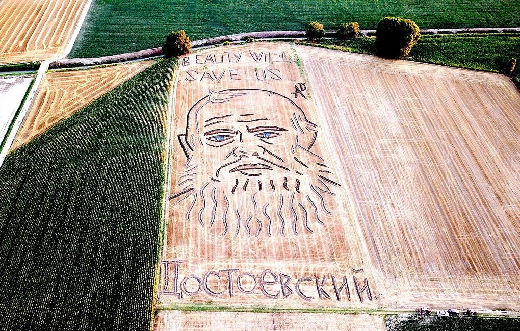 Итальянский художник нарисовал на поле с пшеницей Достоевского